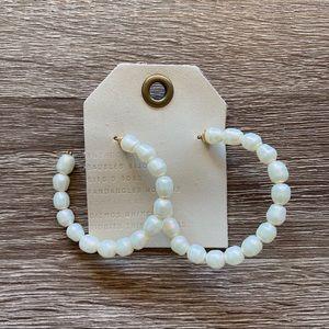 NWT Anthropologie White Pearl Hoop Earrings